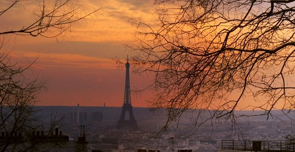 Le Tour Eiffel and the city from a hill in Montmartre