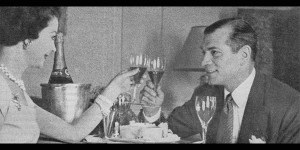 Vivien Leigh and Laurence Olivier toast Larry's birthday