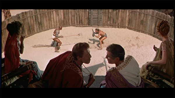 Laurence Olivier, Woody Strode and Kirk Douglas in Spartacus