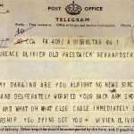 Telegram from Vivien Leigh to Laurence Olivier
