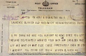 Telegram from Vivien Leigh to Laurence Olivier