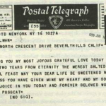 Telegram from Laurence Olivier to Vivien Leigh