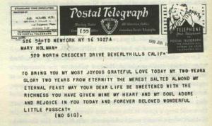 Telegram from Laurence Olivier to Vivien Leigh
