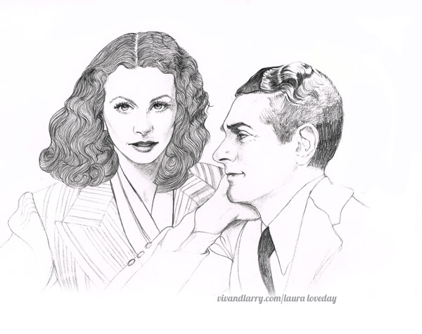 Vivien Leigh and Laurence Olivier by Laura Loveday