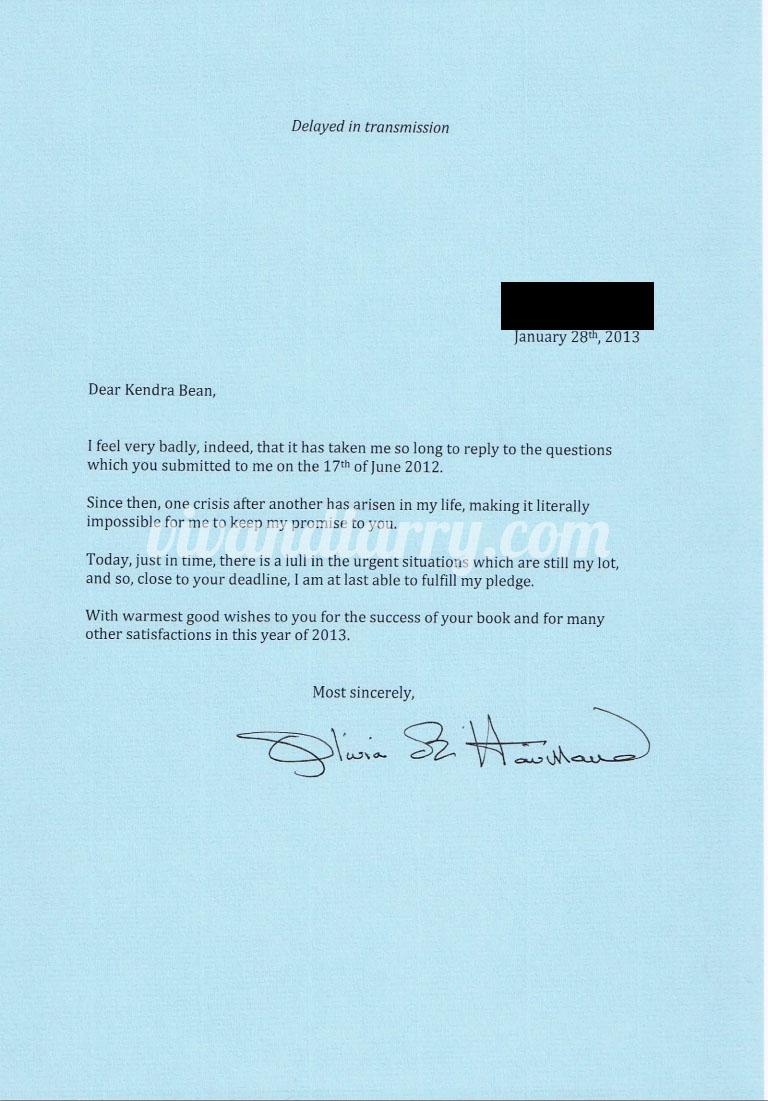 Olivia de Havilland cover letter