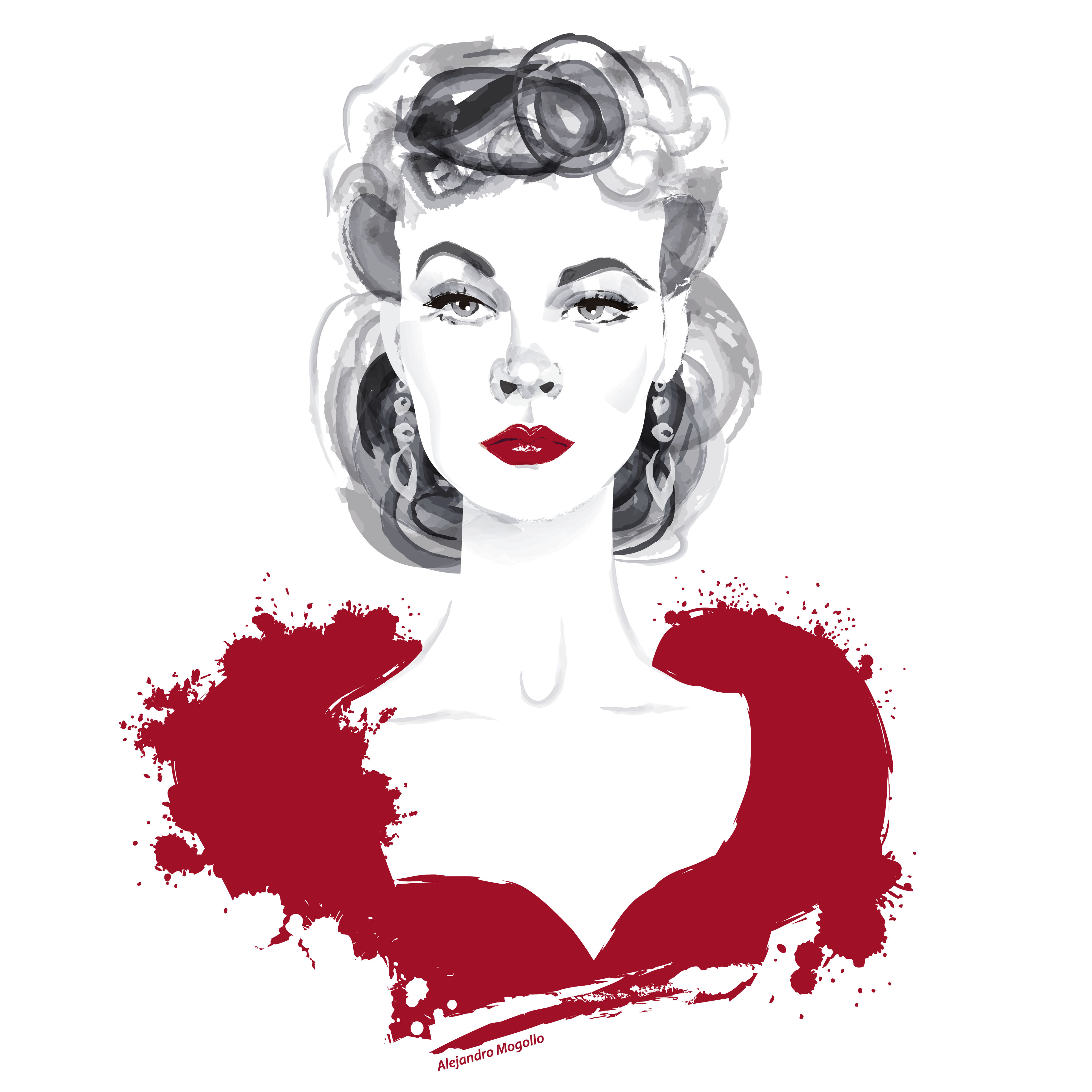Vivien Leigh Scarlett illustration