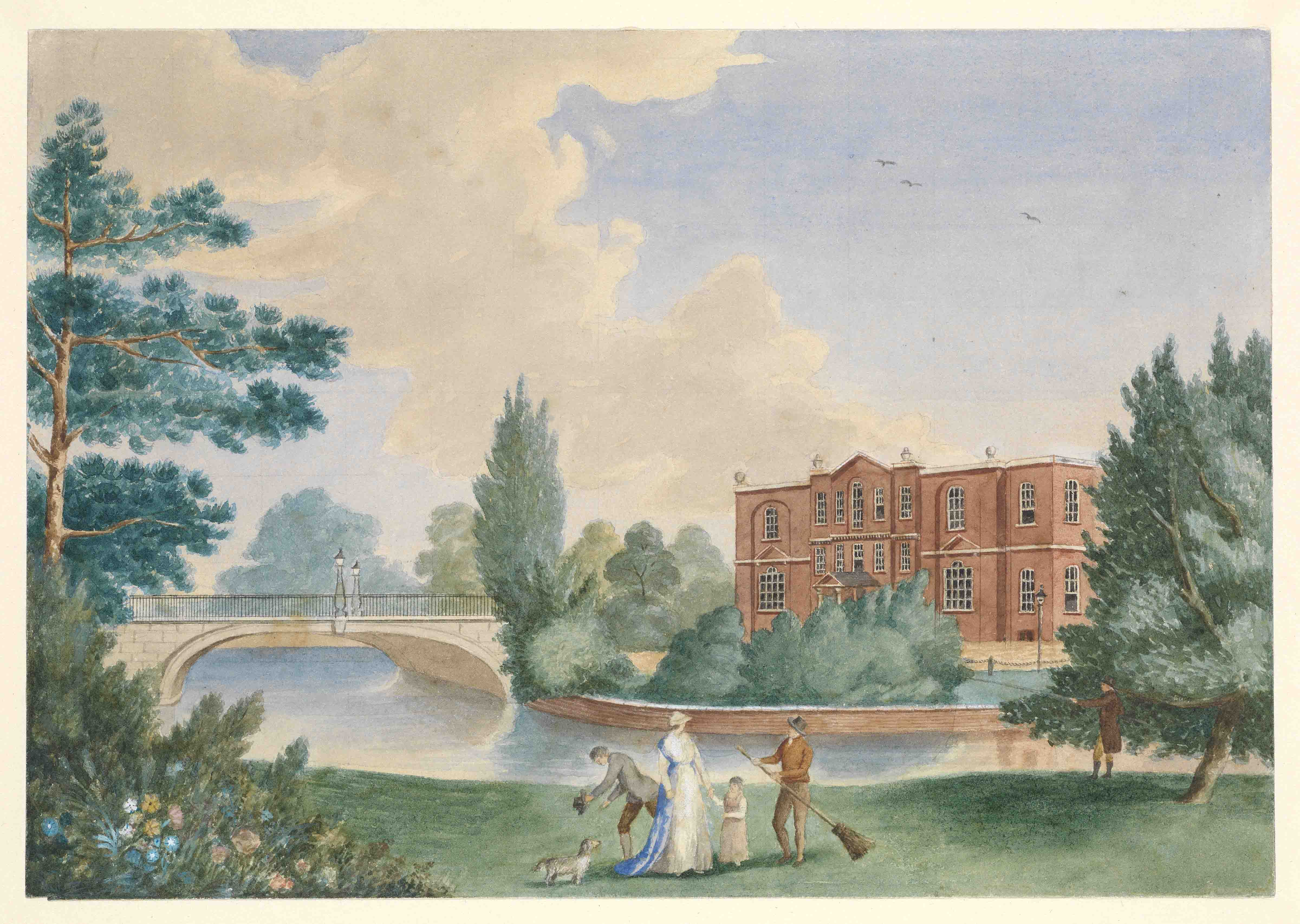 View of Merton House showing Lady Hamilton and Horatia in the grounds PAH6235