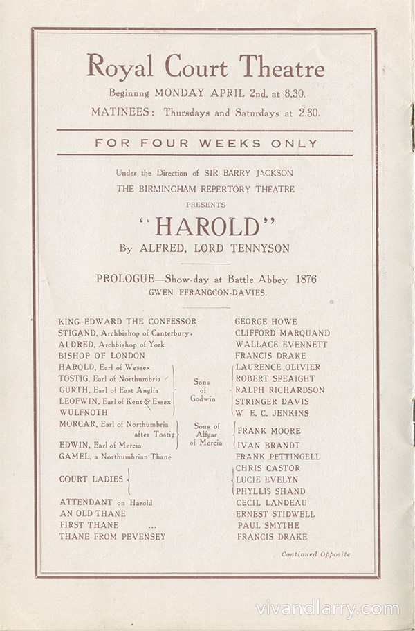 Harold, dtarring Laurence Olivier.