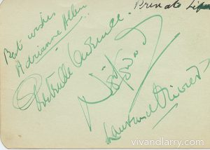 Autographs of Adrianne Allen, Gertrude Lawrence, Noel Coward and Laurence Olivier