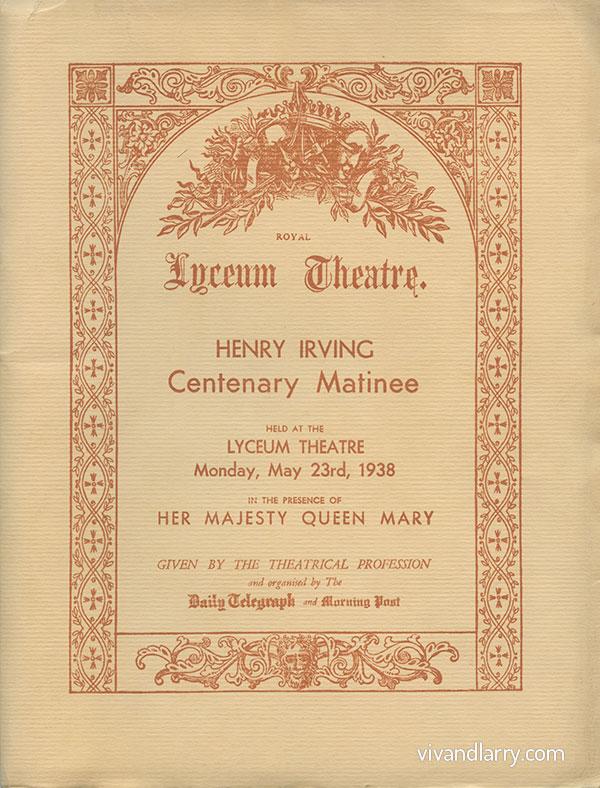 Henry Irving Centenary Matinee, 1938