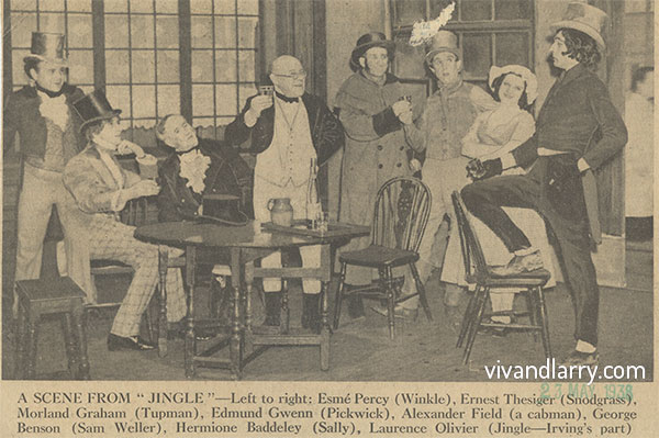 Laurence Olivier (far right) as Jingle. Henry Irving Centenary Matinee, 1938.