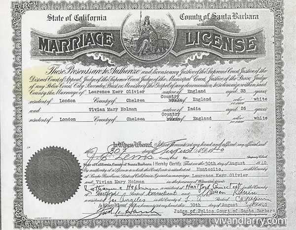 Facsimile of Laurence Olivier and Vivien Leigh's marriage license