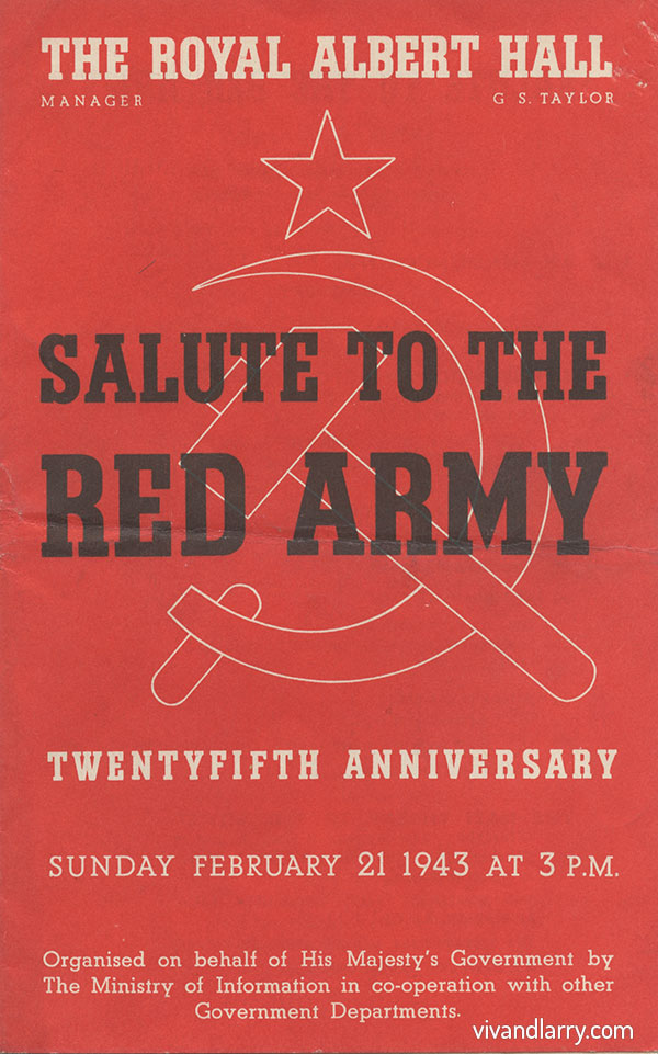 Salute to the Red Army at the Royal Albert Hall, 1943 programme